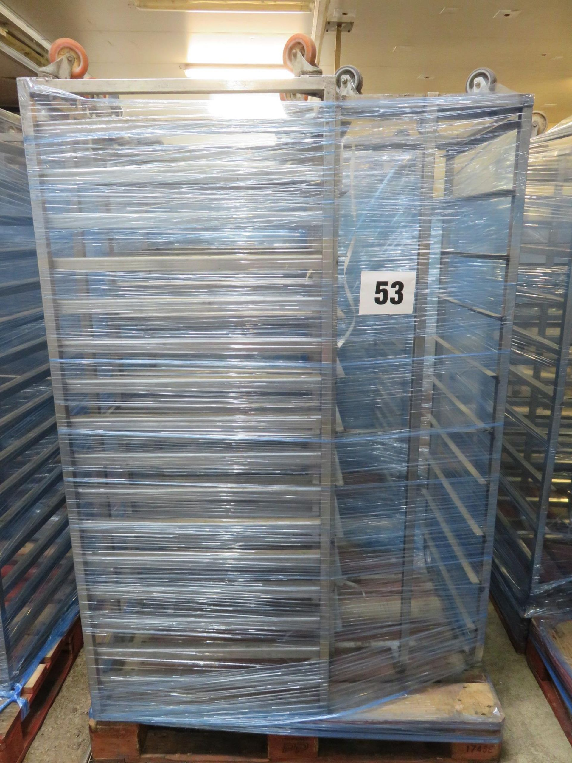 Lot 53 - 3 x S/s Racks:-2 x S/s Racks capable of taking 16 trays.Approx.430 x 650 x 1800mm high. LO£20
