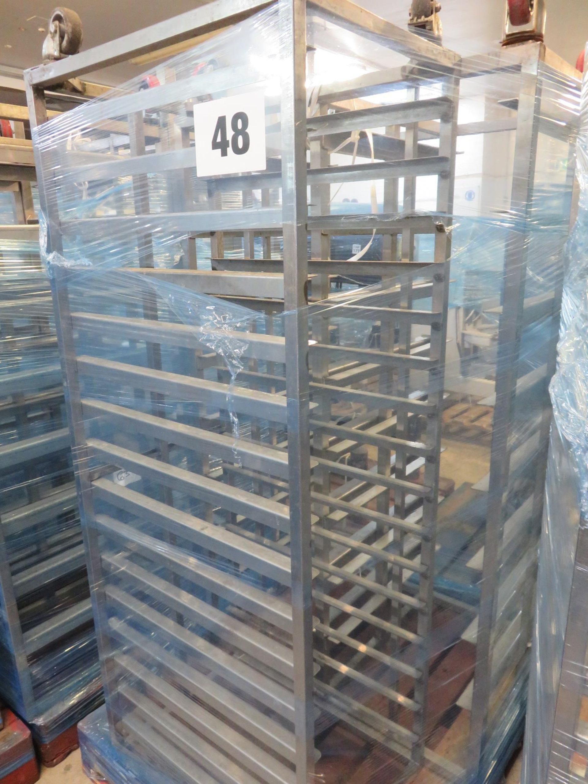 Lot 48 - 3 x S/s Racks: - 2 x S/s Racks capable of taking 10trays.Approx.420mm x 660mm x 1.7metres high.LO£20