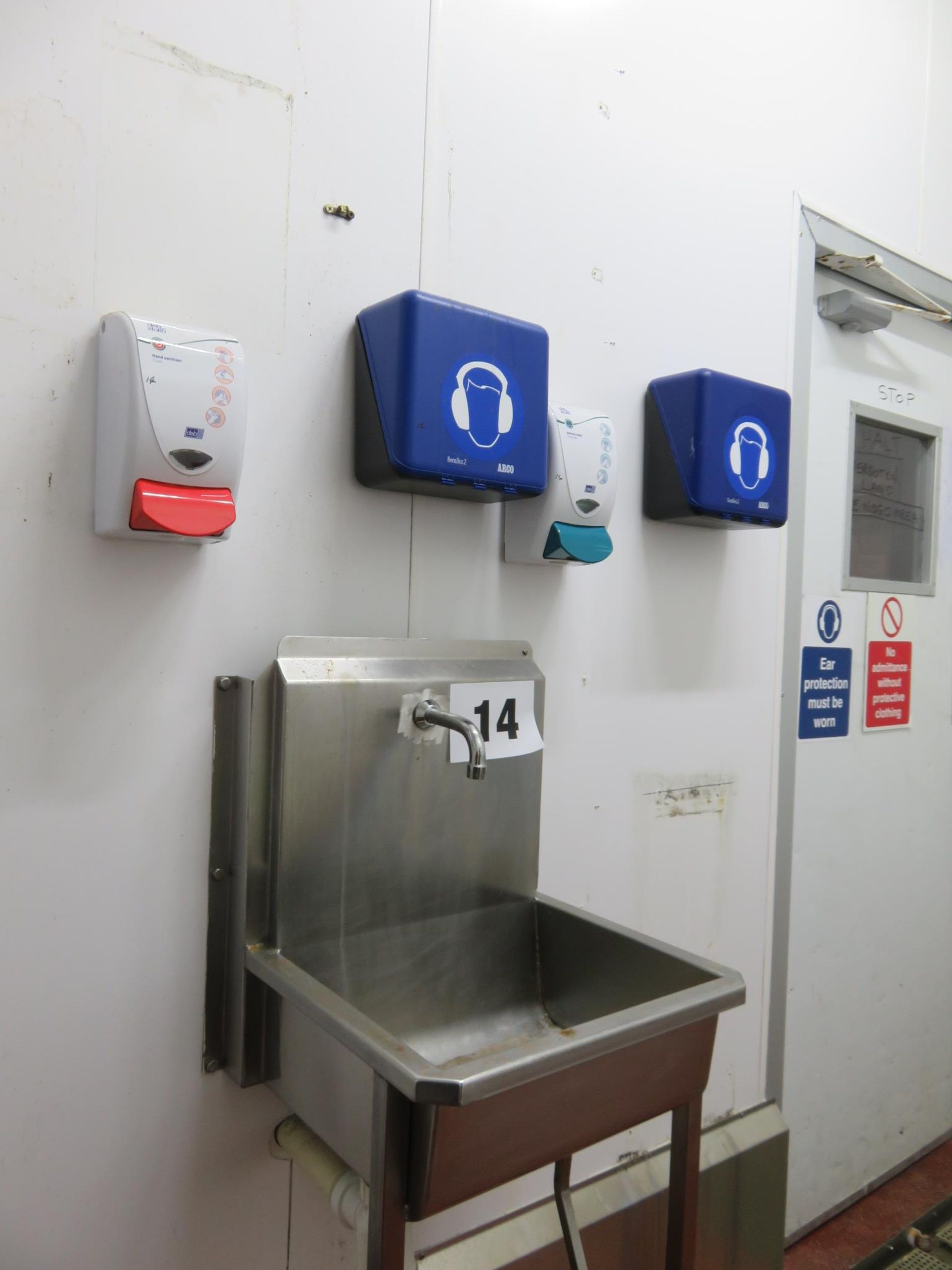 Lot 14 - S/s Sink knee operated; 2 x Secure Box for head phones wall mounted; 2 x Sanitising Un. Lift out £30