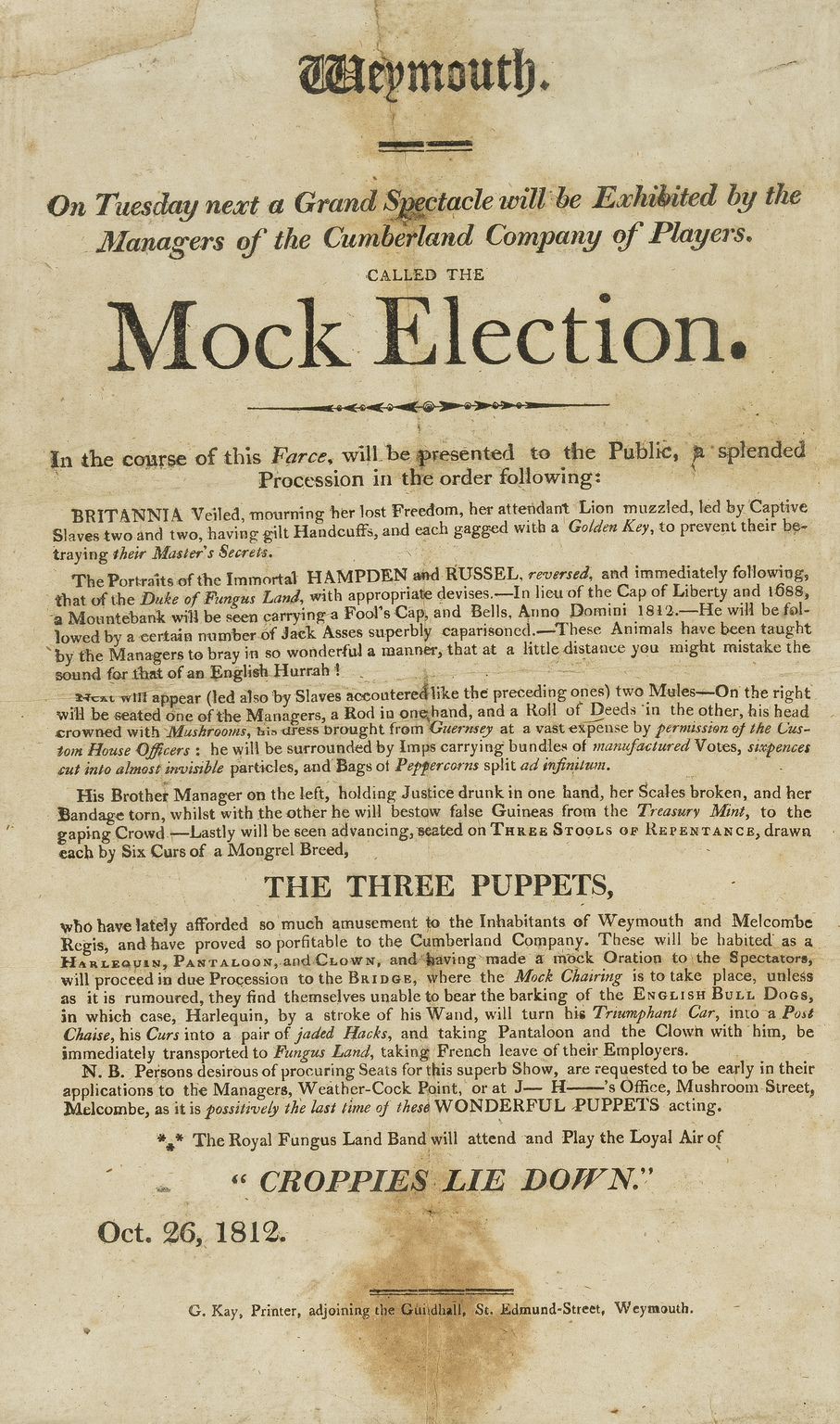 Lot 241 - Ephemera.- Weymouth... Mock Election, satirical printed broadside, 1826; and a quantity of other …