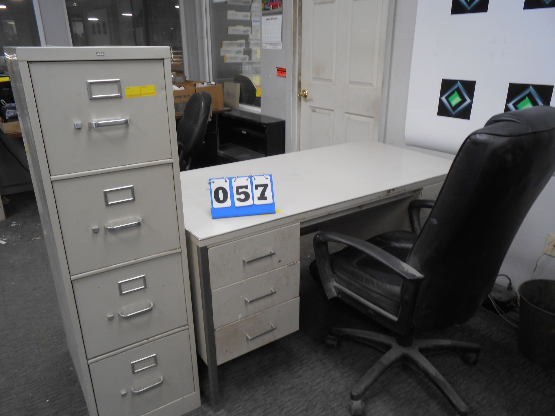 Lot 57 - desk, Chair, 4-Drawer Filing Cabinet