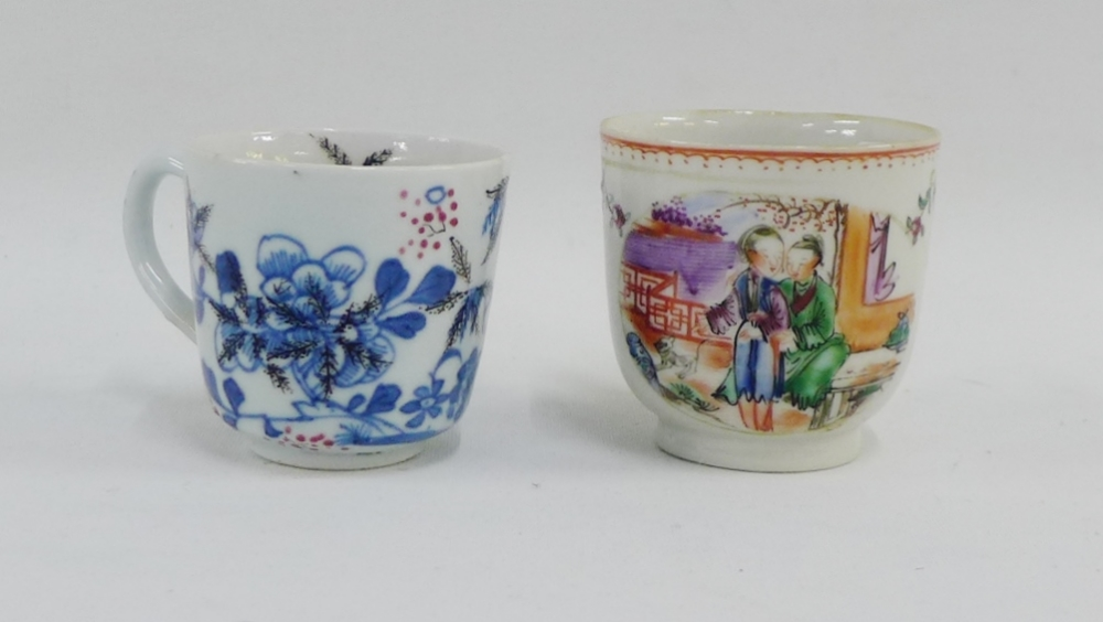Lot 127 - Two 18th century Chinese cups, one with blue landscape and added grapes and vine pattern, the
