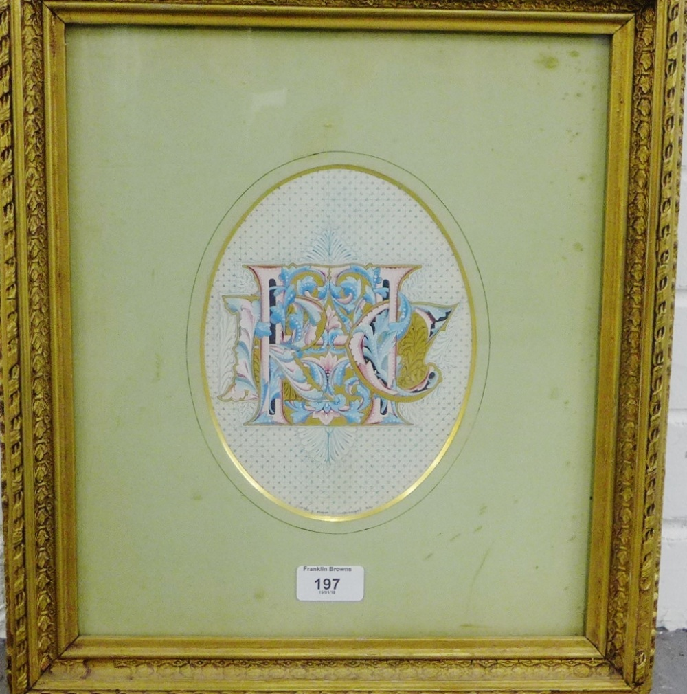 Lot 197 - Clifton and Senior Illuminators & Co, book illustration in a glazed and giltwood frame with an R.