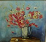 Lot 178 - Philip Bishop 'Everlasting Flowers' Oil-on-Canvas Board, signed and framed, 48 x 44cm