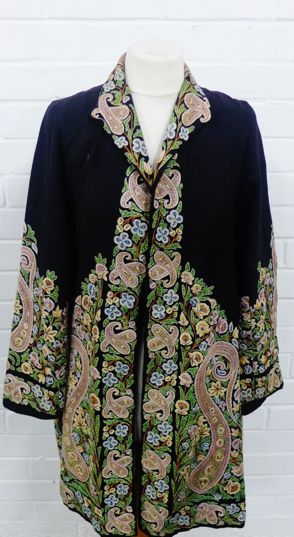 Lot 354 - Japanese jacket with intricate floral embroidered borders