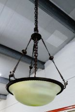 Lot 452 - Bronze patinated metal light fitting with opaque glass shade (a/f)