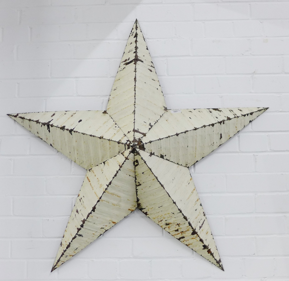 Lot 453 - A pair of large white painted metal wall stars (2) 105 x 105cm