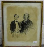 Lot 168 - 19th century drawing of William Henry Urquhart and Anne Jane Urquhart, in a glazed and giltwood
