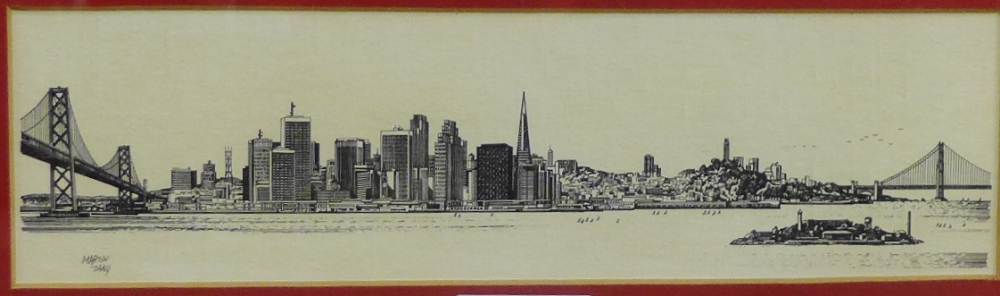Lot 161 - Martin Tang Print, in a glazed and giltwood frame, 25 x 7cm