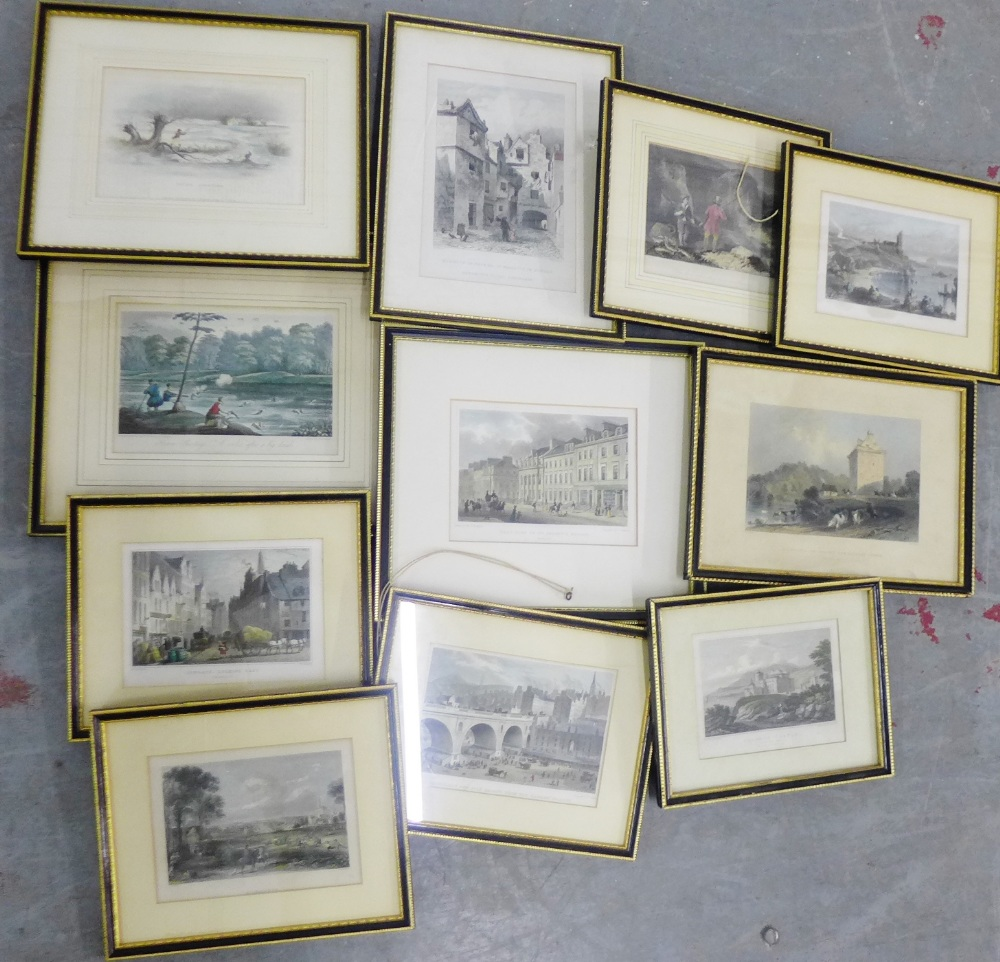 Lot 191 - Carton containing a collection of coloured engraved prints to include 'Culzean Castle', 'Cowgate
