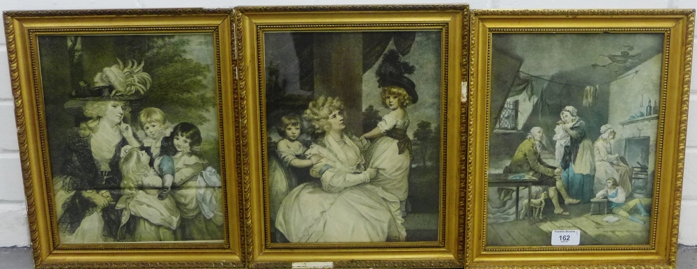 Lot 162 - Group of three coloured prints in glazed giltwood frames, 22 x 28cm, (3)