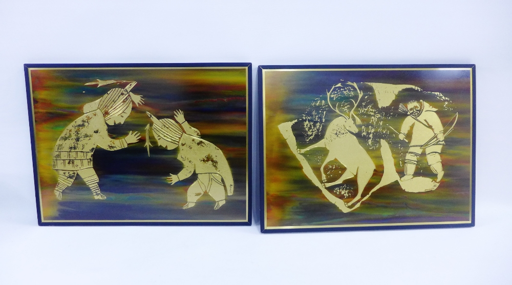 Lot 466 - Companion pair of 'brass roots' metal etchings, 40 x 30cm, (2)