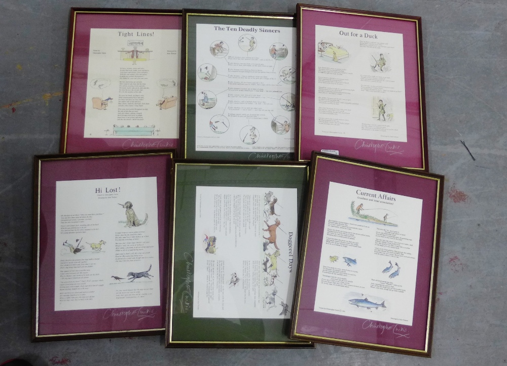 Lot 193 - Set of six Christopher Curtis framed 'Hunting and Fishing' prints, (6)