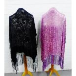 Lot 353 - Two velvet floral patterned shawls with fringed edging, (2)