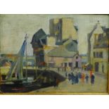 Lot 190 - 20th Century School 'Harbour and Quayside Scene with Figures' Apparently unsigned, Oil-on-Board,