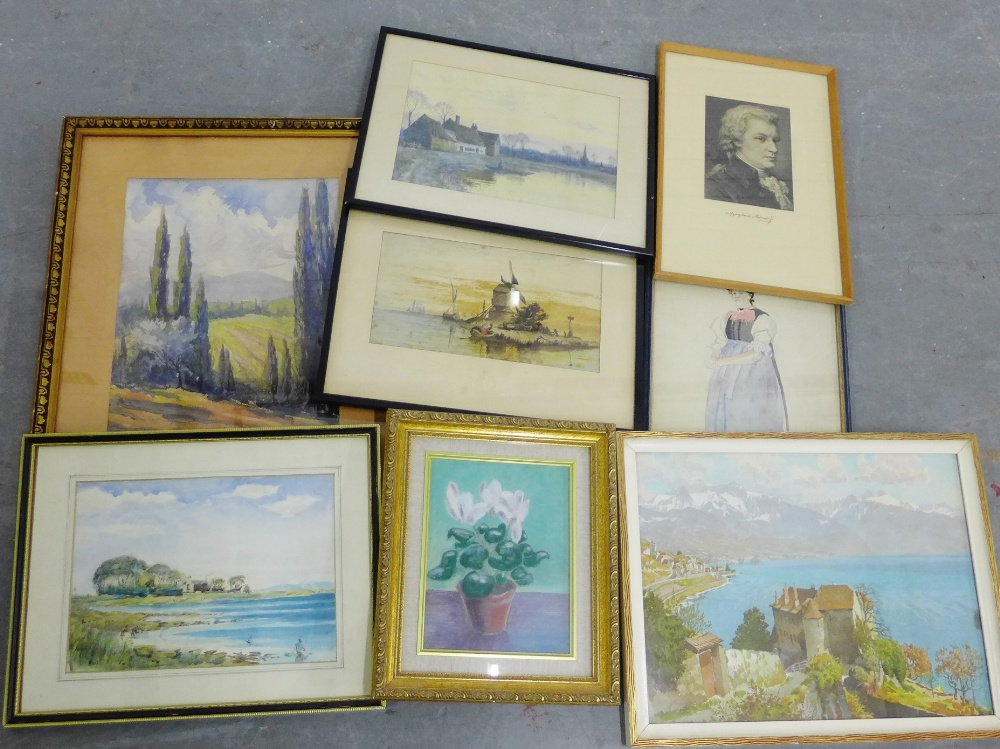 Lot 194 - Carton containing a quantity of paintings and prints, approx (9)