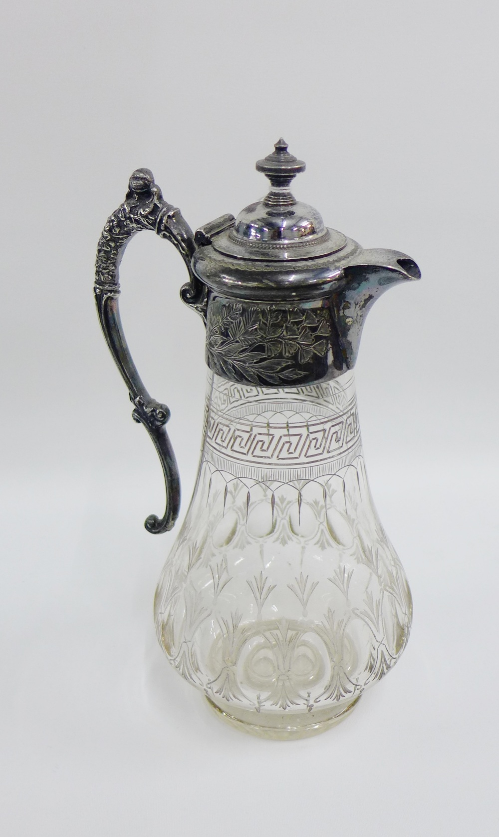 Lot 54 - Victorian Epns and etched glass claret jug, 28cm high