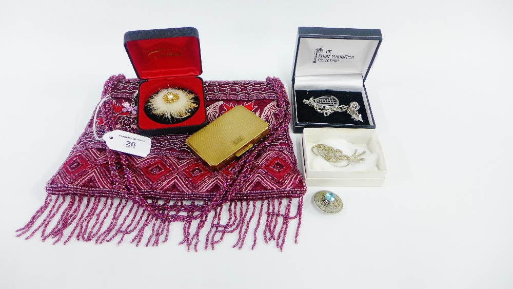Lot 26 - Beaded handbag containing a collection of costume jewellery and a vintage powder compact (a lot)
