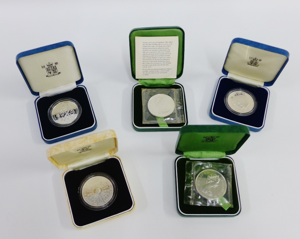 Lot 51 - Five modern silver proof coins, (5)