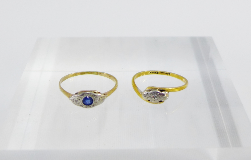 Lot 24 - 9 carat gold and platinum sapphire set ring together with diamond set dress ring on a gold band (2)