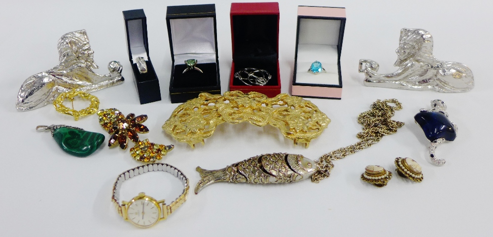 Lot 35 - Mixed lot to include two silver dress rings and another, a silver brooch and various costume