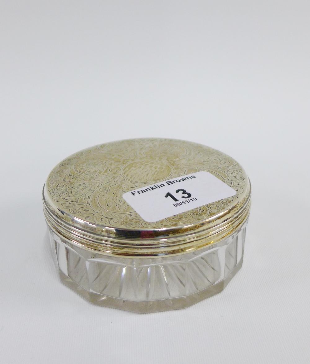Lot 13 - Victorian silver topped glass trinket jar, London 1856, 9 cm diameter