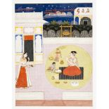 INDIAN MINIATURE PAINTING 'THE BOY KRISHNA' 19TH CTColours and some gold on paperIndia, Pahari,