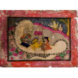 VISHNU ON THE WORLDSNAKE - INDIA, 19TH CENTURYMiniature painting with colors on paper India, 19th