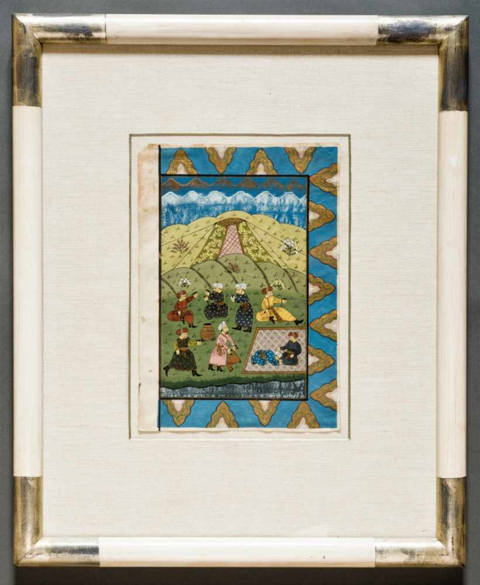 AN INDO-PERSIAN MINIATURE PAINTING - 19th CENTURYMiniature painting with colors and gold on - Image 2 of 2
