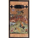 A MINIATURE PAINTING OF A HUNTING SCENE- 19th CENTURYMiniature painting with colors and gold on