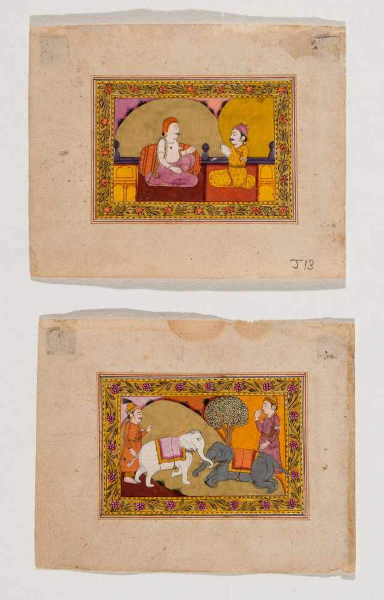 A PAIR OF INDIAN MINIATURE PAINTINGS - 19TH CENTURYMiniature painting with colors and gold on