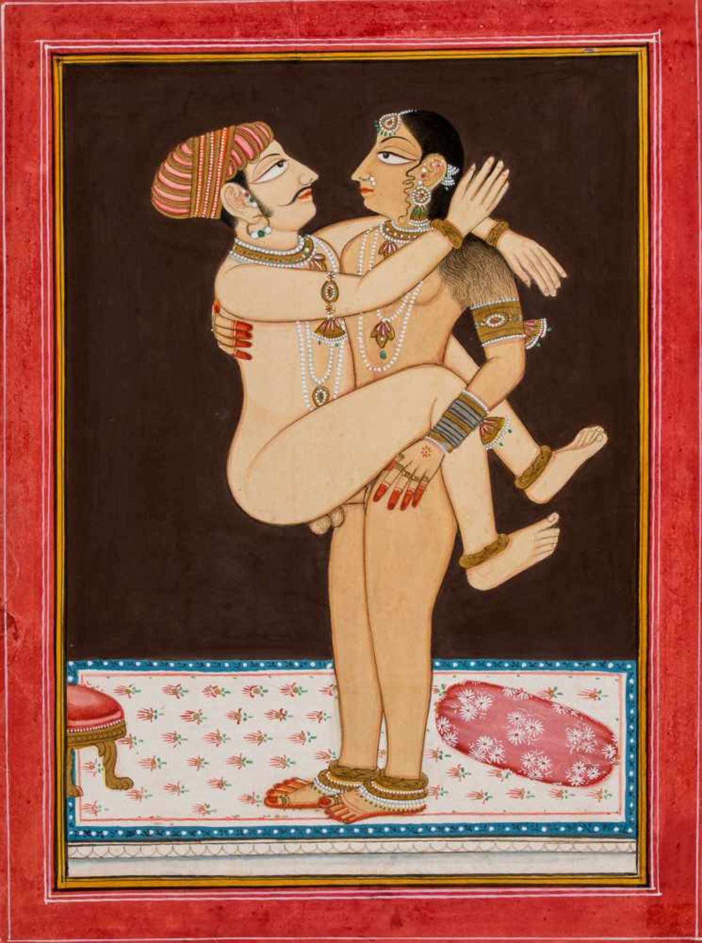 AN EROTIC INDIAN PAINTING - 19TH – EARLY 20th CENTURY Gouache and gold paint on paperIndia, late