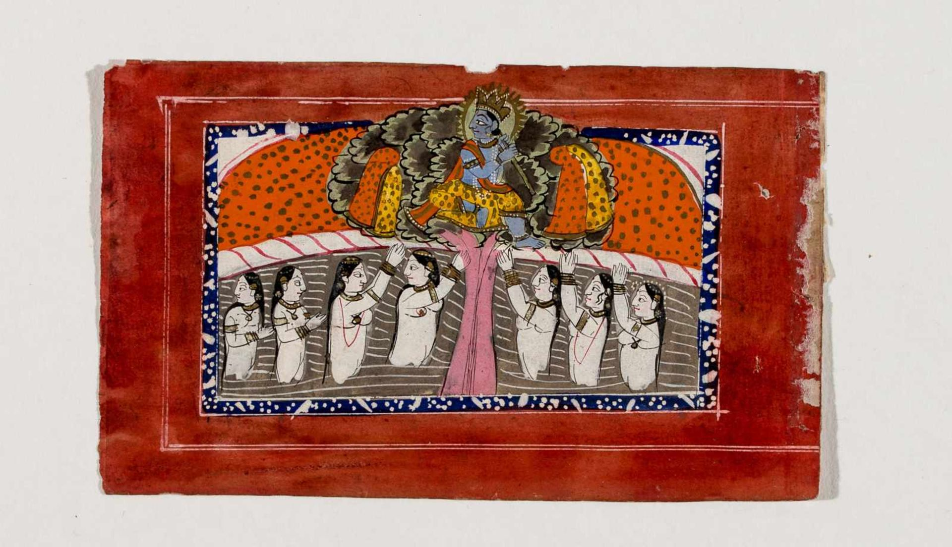 KRISHNA PLAYING THE FLUTE IN FRONT OF BATHING SHEPHERD GIRLS - INDIA, 19TH CENTURYMiniature painting