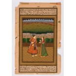 AN INDO-PERSIAN MINIATURE PAINTING - 19th CENTURYMiniature painting with colors and gold on