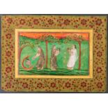 KRISHNA AS CHILD WITH NANDA AND YASHODAMiniature painting with colors and gold India, Nathdwara