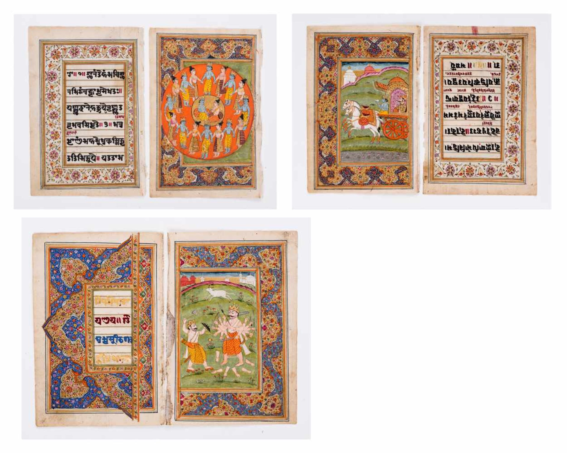 SIX MINIATURE PAINTINGS DEPICTING DEITIES - INDIA, 19th CENTURYMiniature painting with colors and
