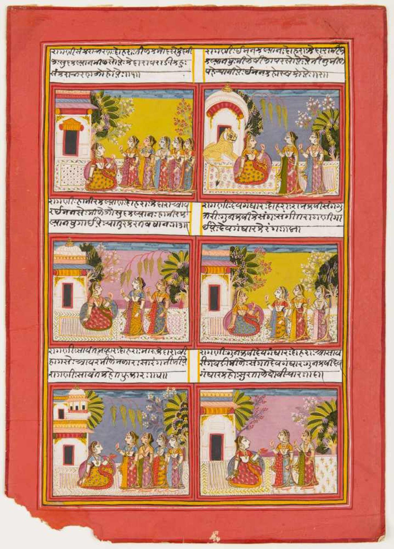 NOBLE LADIES - INDIAN MINIATURE PAINTING - AROUND 1800Indian Miniature Painting, colours and gold