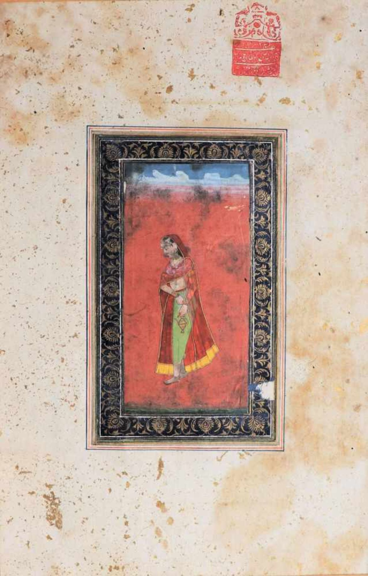 AN INDIAN MINIATURE PAINTING OF A LADY WITH LITTLE A WATER POTPainting with watercolors and gold