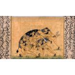 AN EROTIC INDO-PERSIAN MINIATURE PAINTING - 19th CENTURYMiniature painting with colors on paperIndia