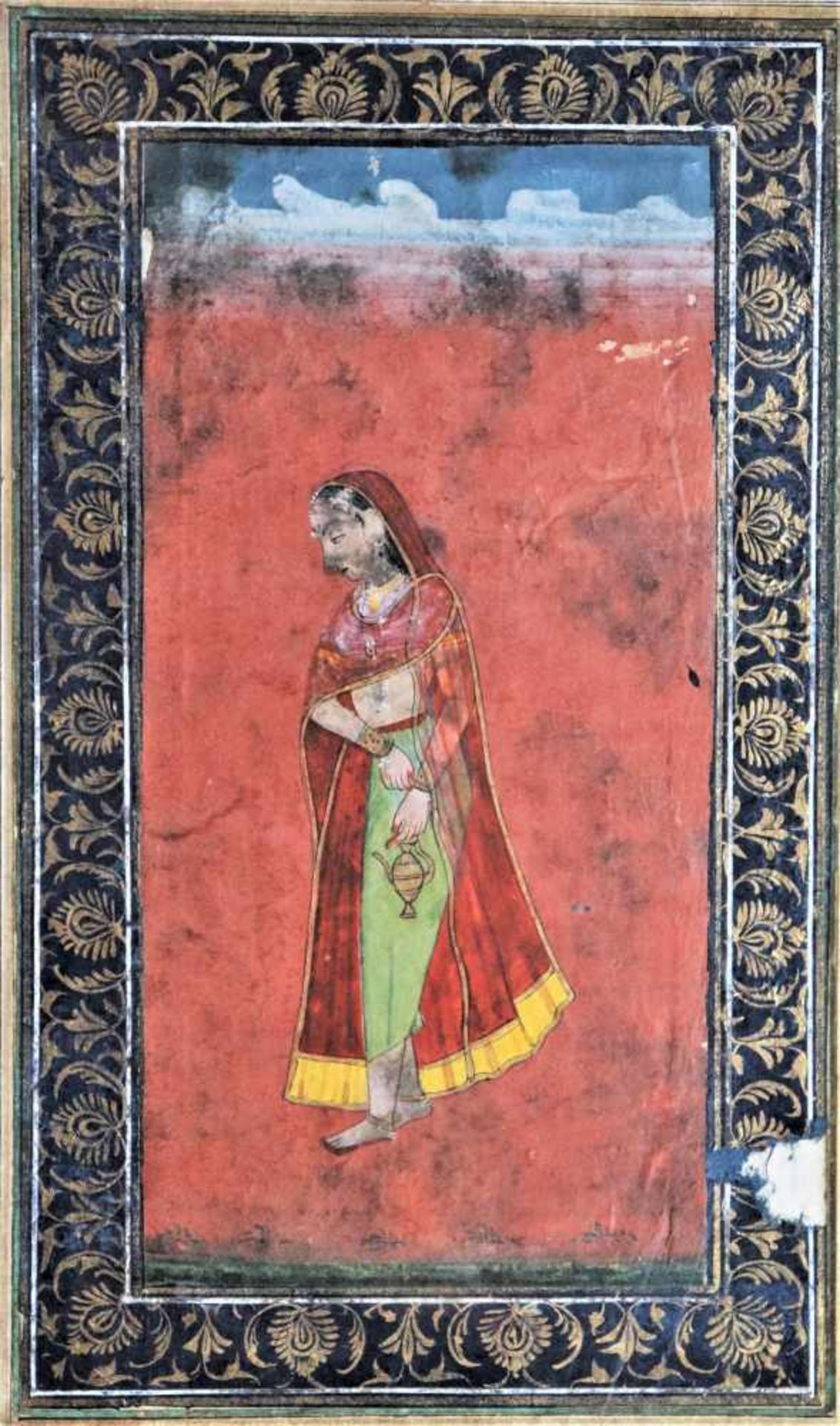 AN INDIAN MINIATURE PAINTING OF A LADY WITH LITTLE A WATER POTPainting with watercolors and gold - Image 3 of 3