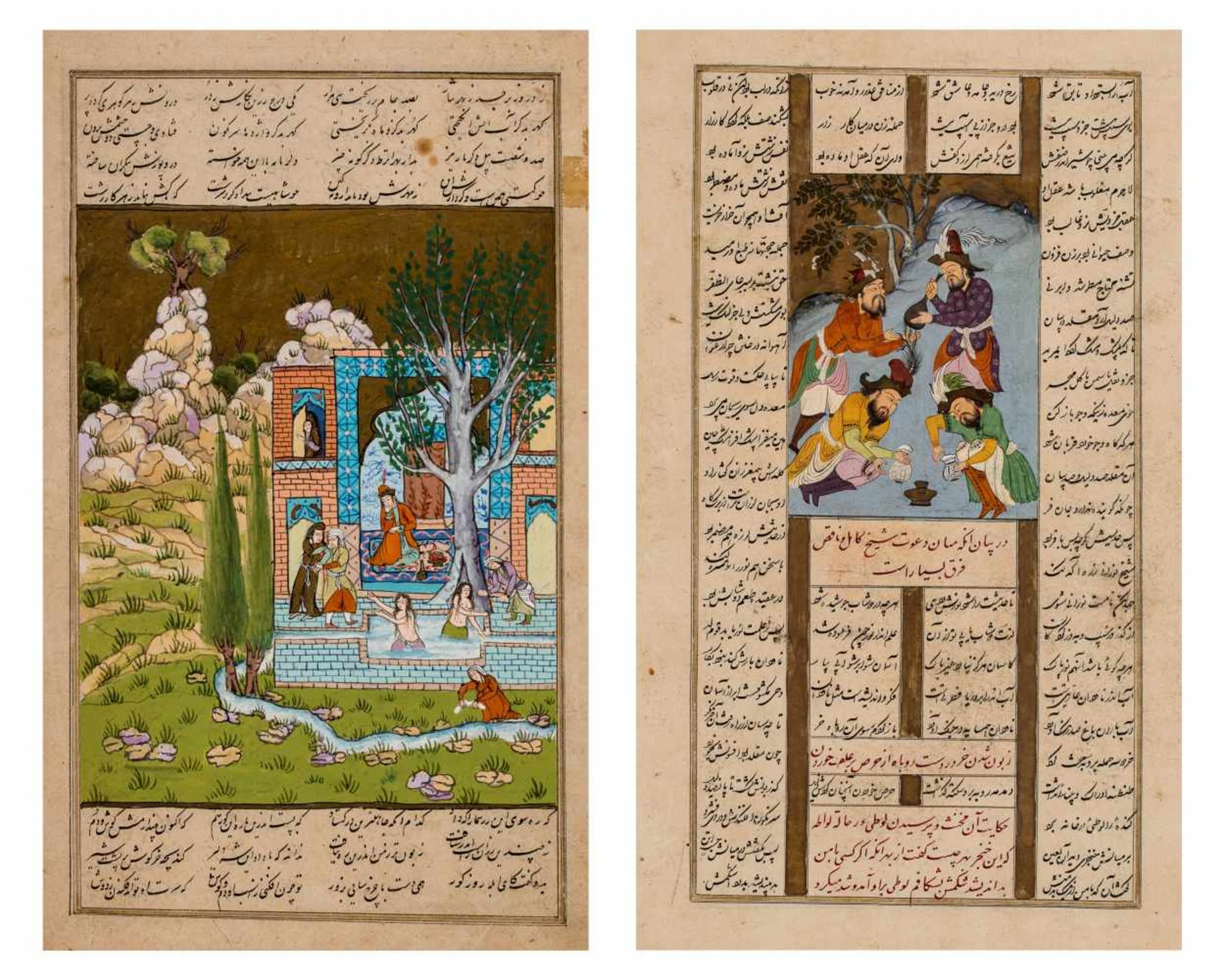 TWO INDO-PERSIAN MINIATURE PAINTINGS WITH CALLIGRAPHY - 19th CENTURYMiniature painting with colors