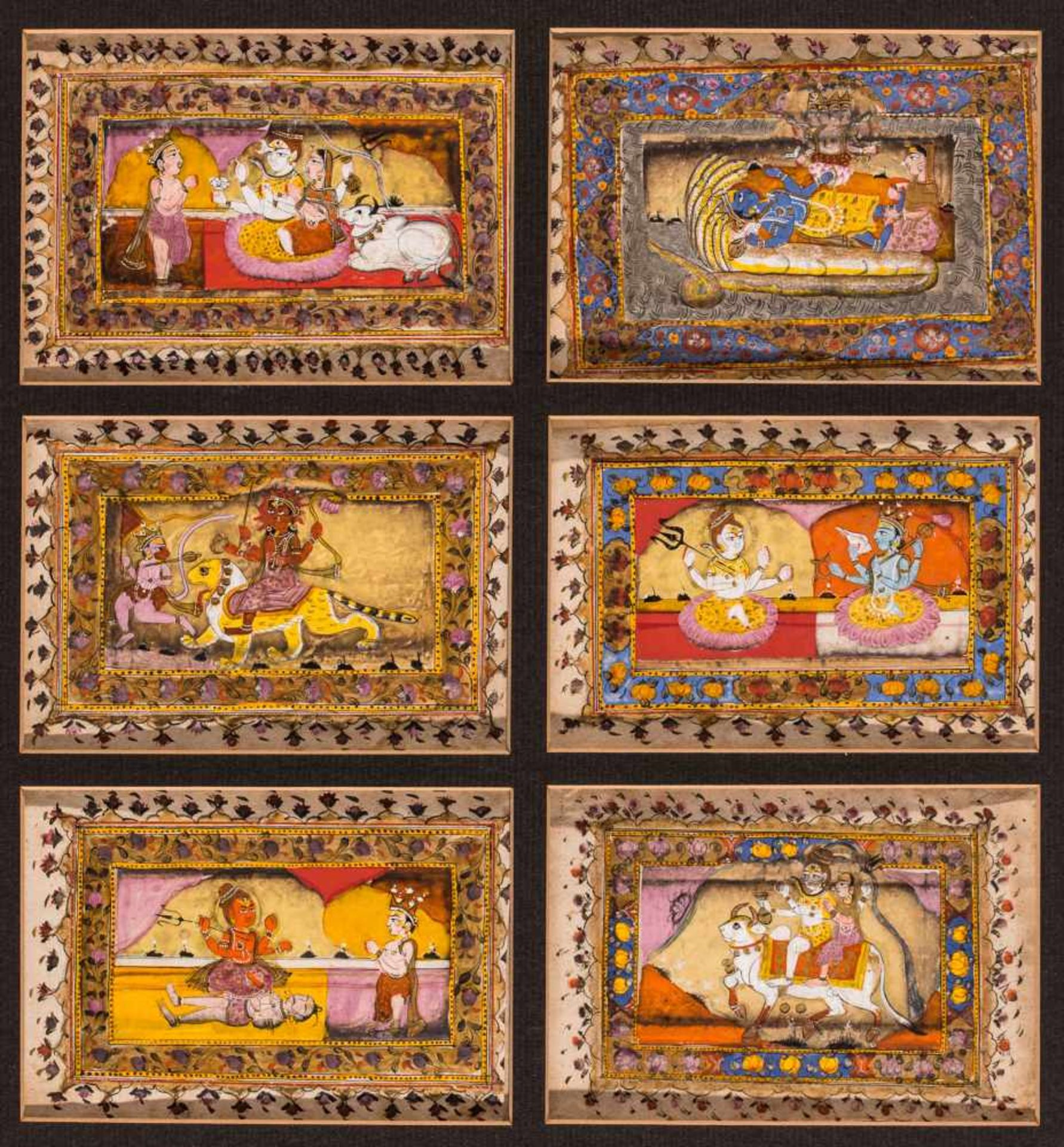 A GROUP OF 6 MINIATURE PAINTINGS - 19th CENTURYMiniature painting with colors and gold on