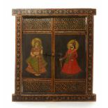 A DOUBLE-FOLDING WOODEN WINDOW - INDIA, 19TH CENTURYIndia, late 19th centuryPainted wood and