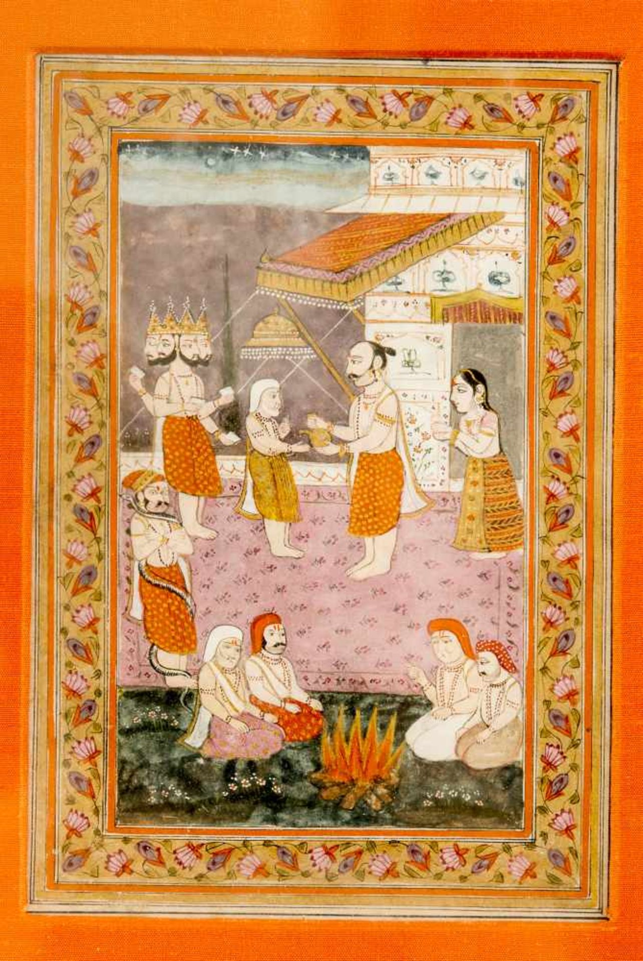 FOUR-HEADED BRAHMA AND SAINTSMiniature painting with colours and gold on paperIndia, 19th cent.