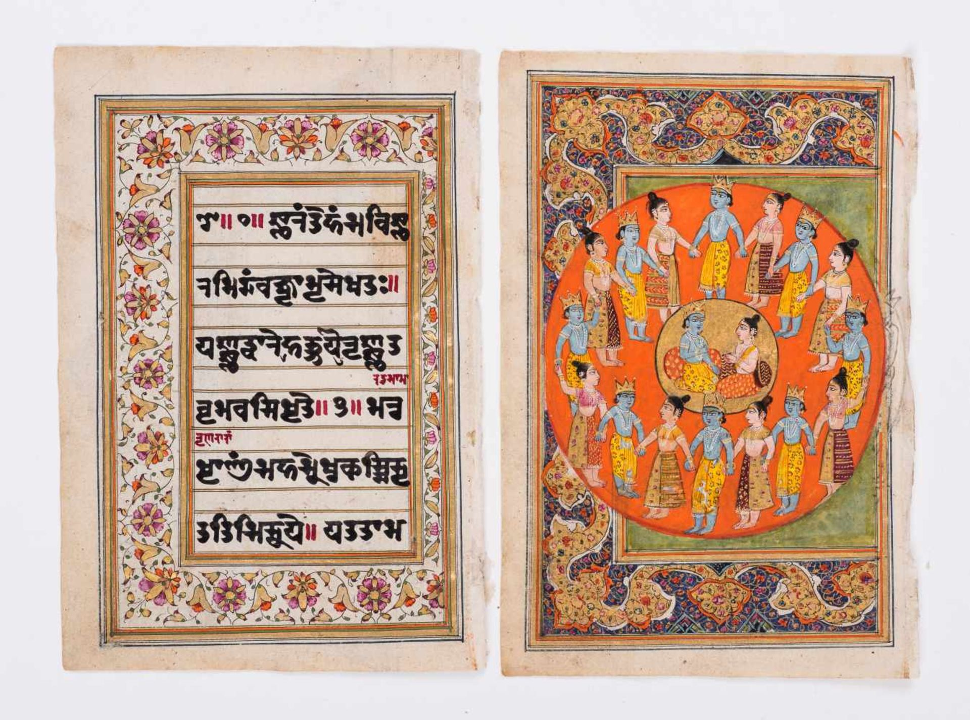 SIX MINIATURE PAINTINGS DEPICTING DEITIES - INDIA, 19th CENTURYMiniature painting with colors and - Image 4 of 7