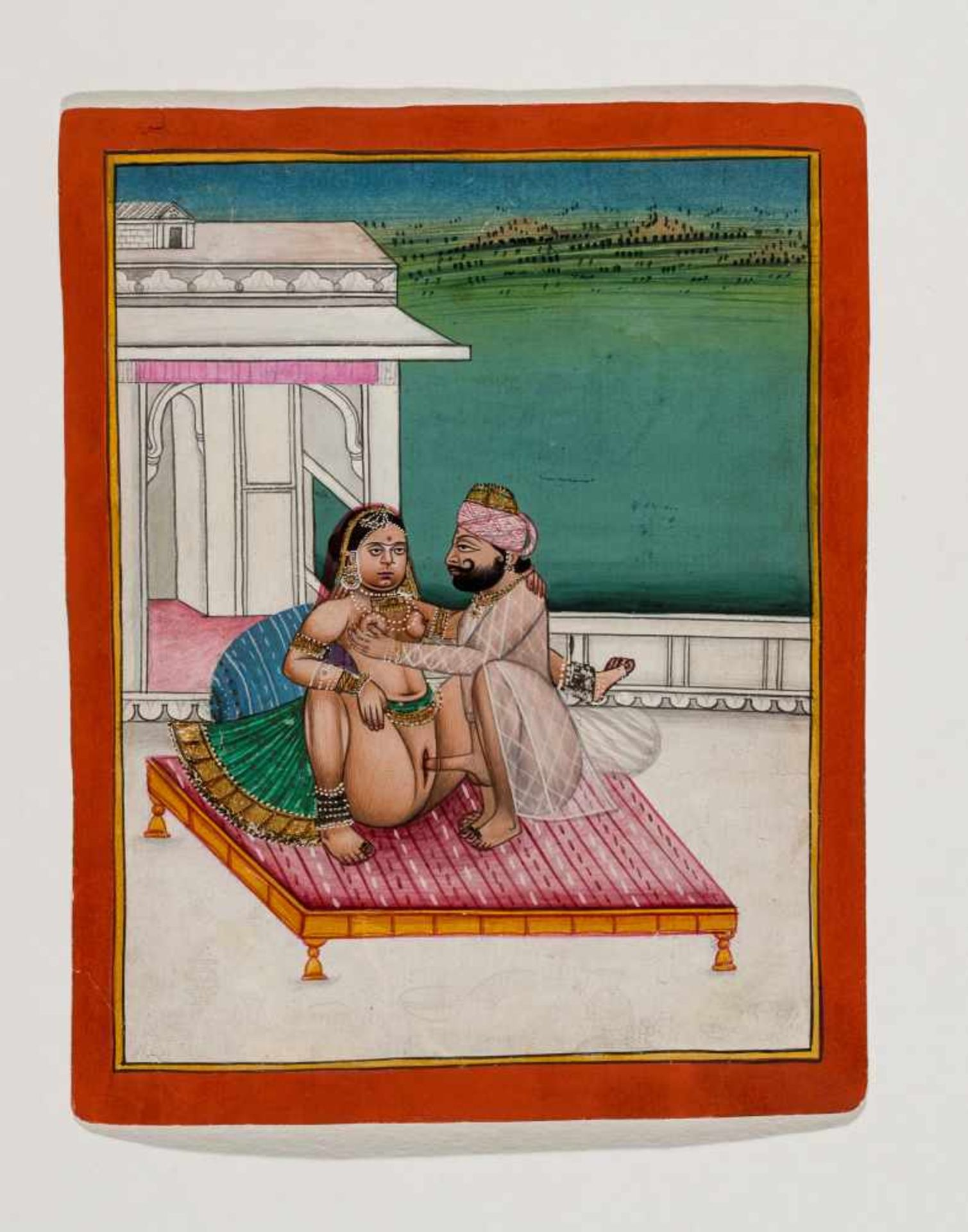 AN EROTIC MINIATURE PAINTING - INDIA, 19TH – EARLY 20th CENTURYGouache and gold paint on paper