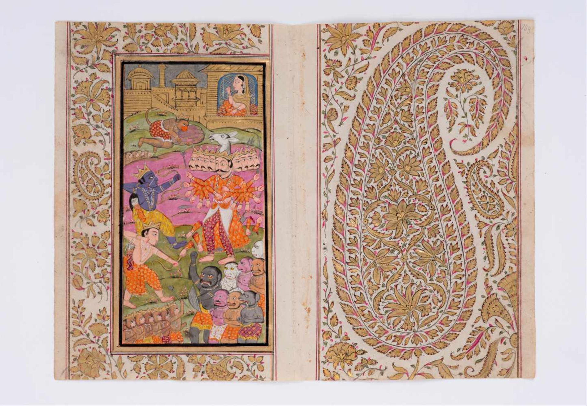 PAIR OF ELABORATE INDIAN MINIATURE PAINTINGS - 19TH CENTURYMiniature painting with colors and gold