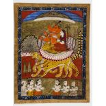 MINIATURE PAINTING - GANESHA ON TWO TIGERS - 19TH CENTURYMiniature painting with colors and gold