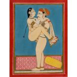 AN EROTIC INDIAN PAINTING - 19TH – EARLY 20th CENTURYGouache and gold paint on paper India, late