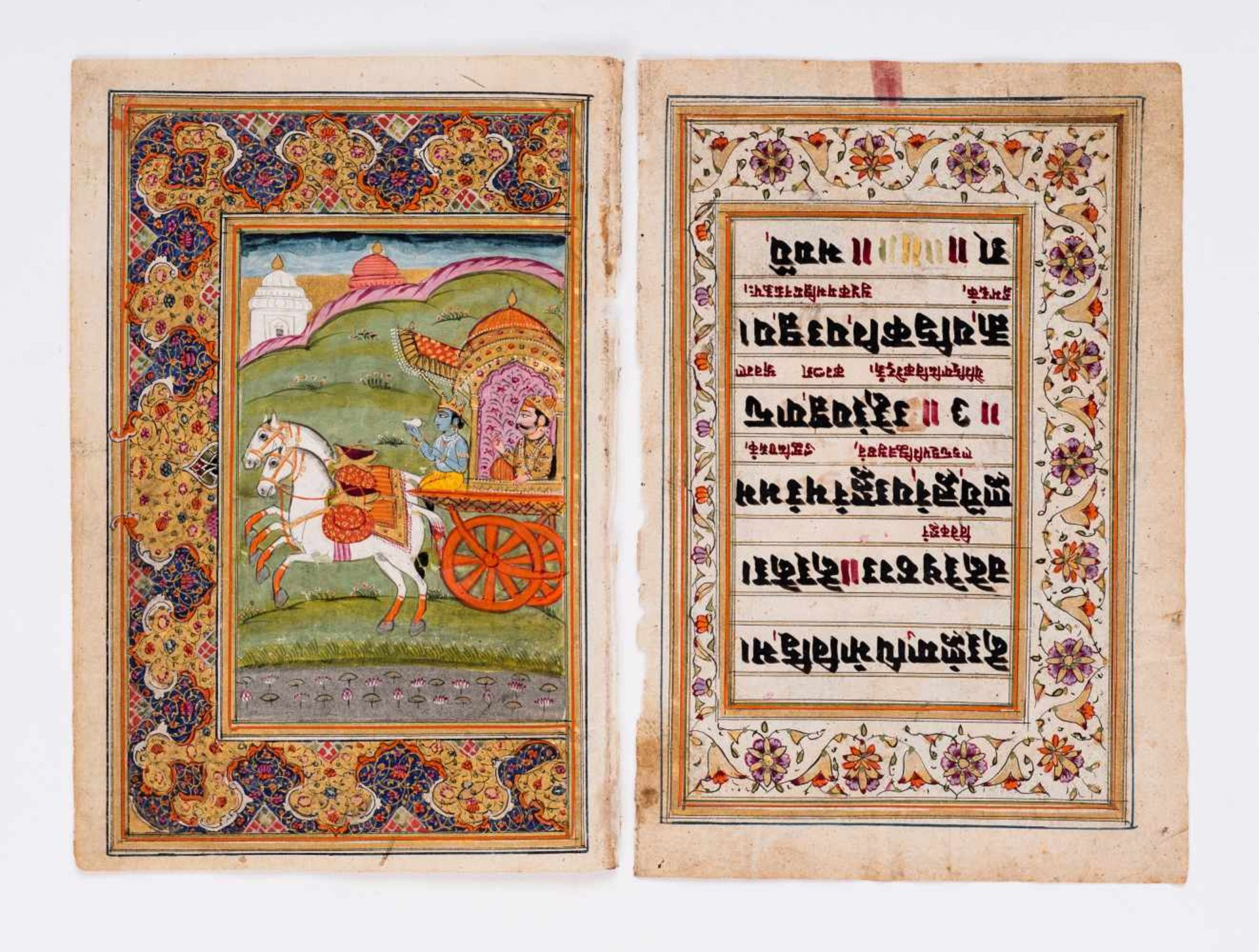 SIX MINIATURE PAINTINGS DEPICTING DEITIES - INDIA, 19th CENTURYMiniature painting with colors and - Image 6 of 7